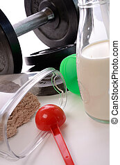 Sports - Weight gainer with milk and fitness equipments