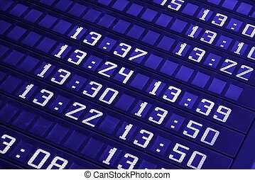 Schedule boards with timings in blue tone