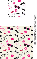 Seamless Pattern - Moustaches, Lips, Glasses Vector Seamless...