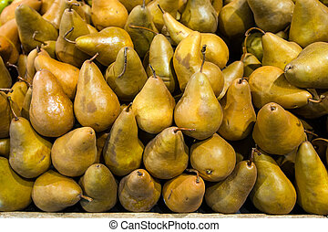 Pears in food store - Pears on a stall in food store