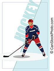Ice hockey player poster. Vector il
