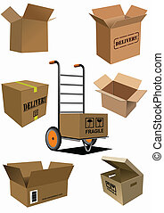 Carton boxes collection Vector illustration