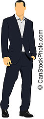 Business man sits over white background. Vector illustration