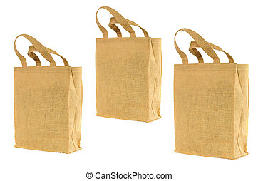 Shopping bag made out of recycled sack with isolated white...