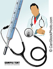 Medical doctor, stethoscope and thermometer Vector...