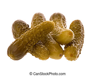 Pickled Gherkins - Isolated macro image of pickled gherkins.