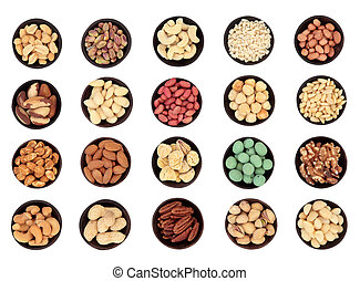 Large Nut Selection - Large nut selection in wooden bowls...