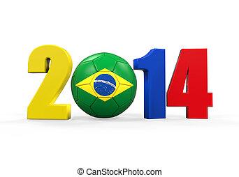 Brazil Soccer 2014 isolated on white background. 3D render
