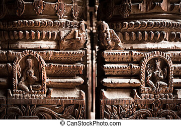 Hindu temple architecture detail.. Nepal - Hindu temple...