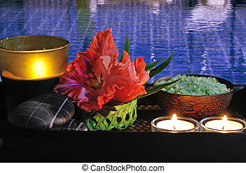 spa still life at pool - spa still life with red flower and...