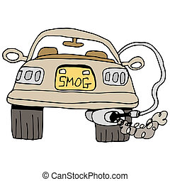 Car Smog Check - An image of a car getting a smog check.