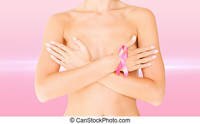 naked woman with breast cancer awareness ribbon - health,...