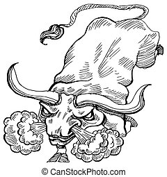 Charging Bull - An image of a charging bull