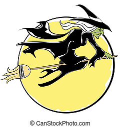 Witch Flying On Broom - An image of a witch flying on a...
