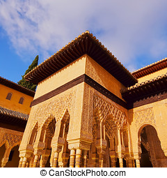 Palacios Nazaries in Granada, Spain - Patio de los Leones in...