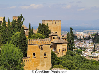 Granada, Spain - Cityscape of Granada with a view of famous...