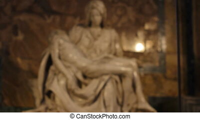 Focus in on Michelangelos Pieta - Camera focusing on Pieta...