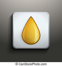 Oil button with yellow drop