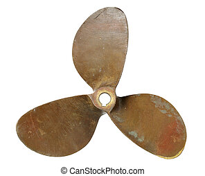 Propeller - Old three-blade bronze boat propeller on white