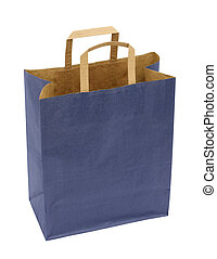 Paper bag - A blue paper bag isolated on white. NOTE: the...