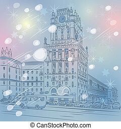 Vector Christmas winter cityscape of a city-center, Station...