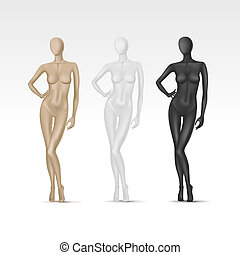 Vector Isolated Female Mannequin