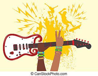 hand up guitar vector art