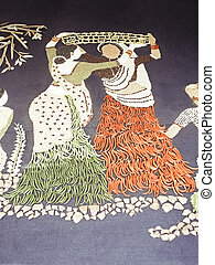 Rangoli of two workingwomen made by using Spices &...