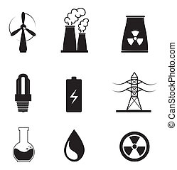 energy types over white background vector illustration