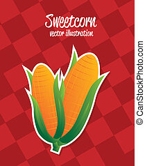 corn label over red background vector illustration