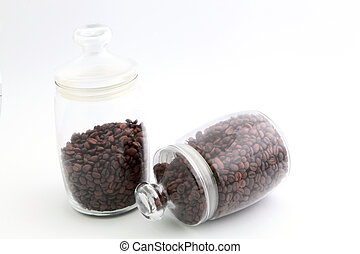 coffee beans in a glass jar