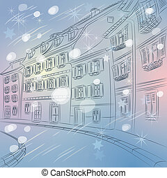 Vector Christmas winter cityscape of old European city