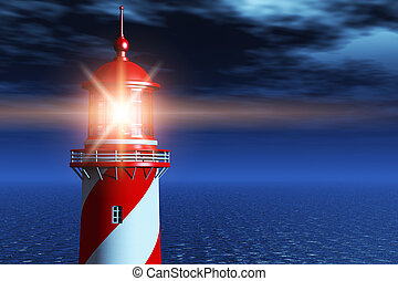 Lighthouse at dark night in ocean - Creative abstract...