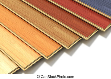 Set of color wooden laminated construction planks -...