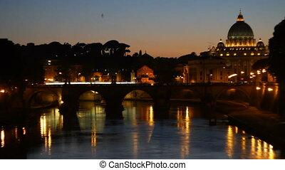 Tibre and Vatican in the Dusk - View of Vatican and San...