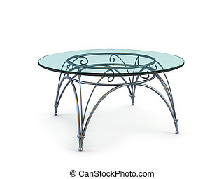 modern coffee glass table - modern glass table 3d rendering