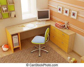children\'s room interior - 3d interior of the children\'s...