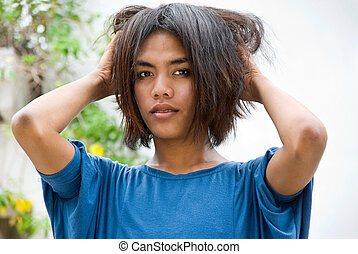 Portrait of emo teenager - Outdoors portrait of a long...