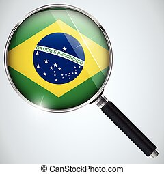 NSA USA Government Spy Program Country Brazil - Vector - NSA...