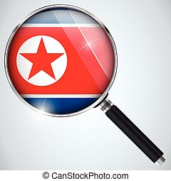 NSA USA Government Spy Program Country North Korea - Vector...