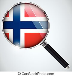 NSA USA Government Spy Program Country Norway - Vector - NSA...