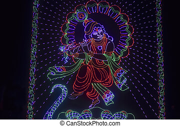 Colourful representation of God Krishna using led lights,...
