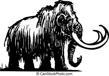Mammoth - Woodcut style ancient wooly mammoth from the ice...