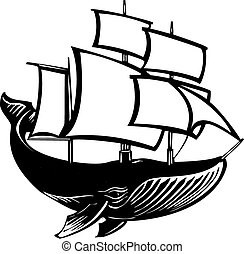 Sail Whale - Woodcut style sail propelled baleen whale.