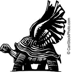 Winged Turtle - Woodcut style turtle with spread wings...