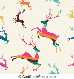 Merry Christmas reindeer stripes seamless pattern vector -...