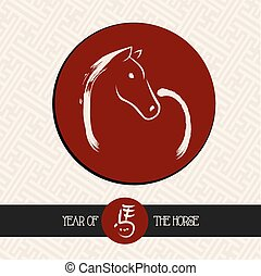 Chinese new year of the Horse red circle shape file. - 2014...