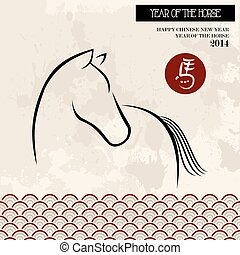 Chinese new year of the Horse brush style vector file. -...