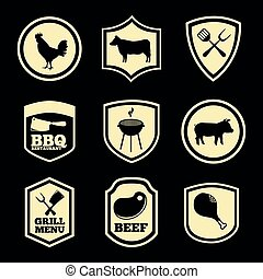 grill menu over black background vector illustration
