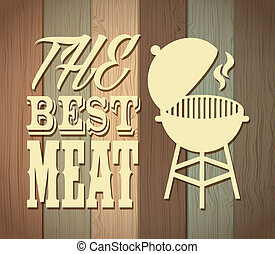best meat over wooden background vector illustration